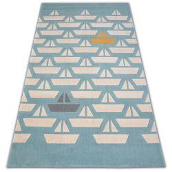 Carpet PASTEL 18411/032 - Sailboats Boats turquoise cream grey gold