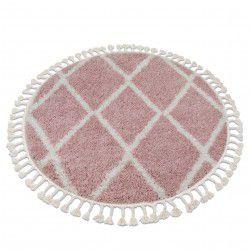 Koberec BERBER TROIK A0010 kruh růžový / bílá Třepení berber maročtí shaggy