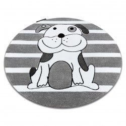 Kinderteppich PETIT HÜNDCHEN Kreis grau