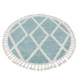 Teppich BERBER TROIK A0010 Kreis blau / weiß Franse berber marokkanisch shaggy