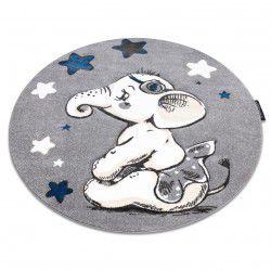 Kinderteppich PETIT ELEPHANT ELEFANT STERNE Kreis grau