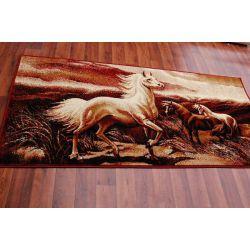 Carpet TAPESTRY - HORSES maroon