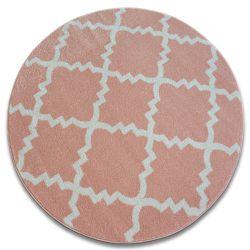 Koberec SKETCH kruh - F343 růžový/krém trellis