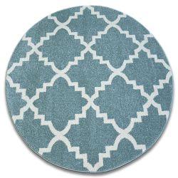 Sketch szőnyeg kör - F343 türkiz/krém Lóhere Marokkói Trellis