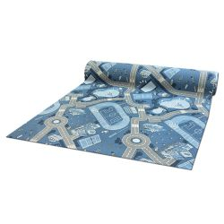 Antypoślizgowa wykładzina dywanowa infantil STREET azul
