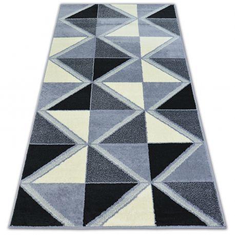 Alfombra BCF BASE TRIGONAL 3974 Triángulos negro/gris