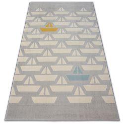 Pastel szőnyeg 18411/052 - Vitorlások Csónak szürke krém türkiz arany