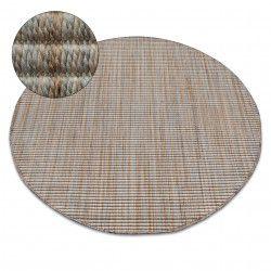 Alfombra de cuerda sisal NATURE 90000 círculo Franjas Boho beige