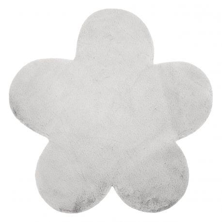 Teppich NEW DOLLY Blume G4372-2 silber IMITATION VON KANINCHENPELZ