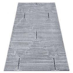 Tapis Structural SIERRA G5018 tissé à plat gris - bandes, diamants