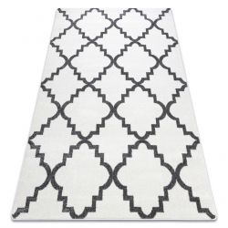 Tapete SKETCH - F343 branco/cinzento trevo marroquino trellis