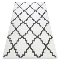 Tapis SKETCH - F343 blanc et gris trèfle marocain trellis