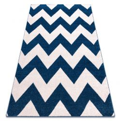 Tapis SKETCH - FA66 bleu et blanc - Zigzag