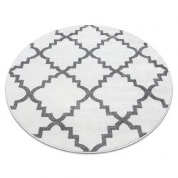 Sketch szőnyeg kör - F343 fehér / szürke Lóhere Marokkói Trellis