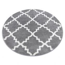 Tapis SKETCH cercle - F343 gris et blanc trèfle marocain trellis