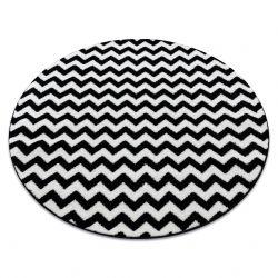 Sketch szőnyeg kör - F561 fehér/fekete - Cikcakk