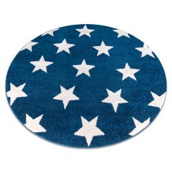 Koberec SKETCH kruh - FA68 modrý/bílá - Hvězda
