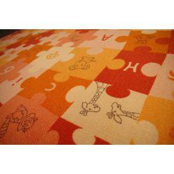 Dywan dziecięcy PUZZLE oranż