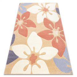 Koberec FEEL 1602/17911 Květiny béžový/terakota/fialový
