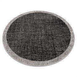 Fonott sizal floorlux szőnyeg Kör 20401 Keret fekete / ezüst