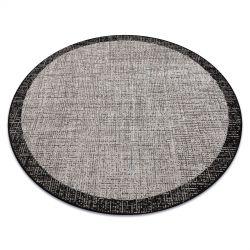 TAPPETO DI SPAGO SIZAL FLOORLUX Cerchio 20401 Telaio argento / nero