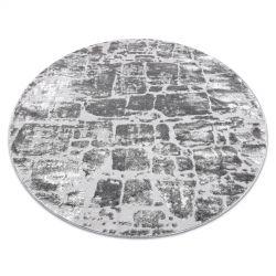 Modern MEFE carpet Circle 6184 Paving brick - structural two levels of fleece dark grey