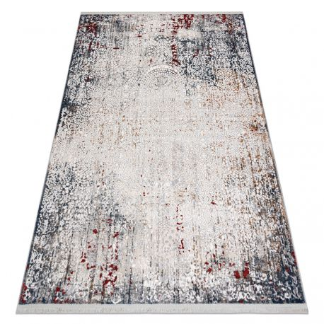 Modern REBEC szőnyeg rojt 51151A Dísz vintage - két szintű gyapjú szürke / krém