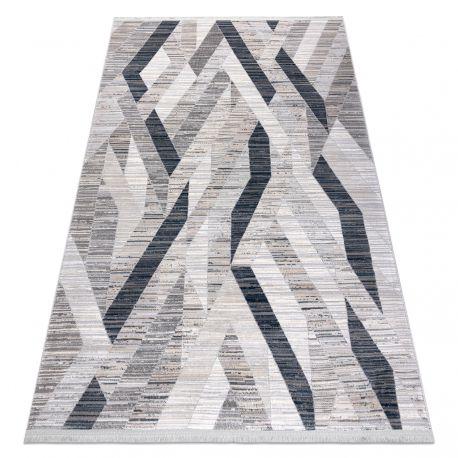 Tapis moderne REBEC franges 51166B Géométrique - deux niveaux de molleton bleu foncé / crème