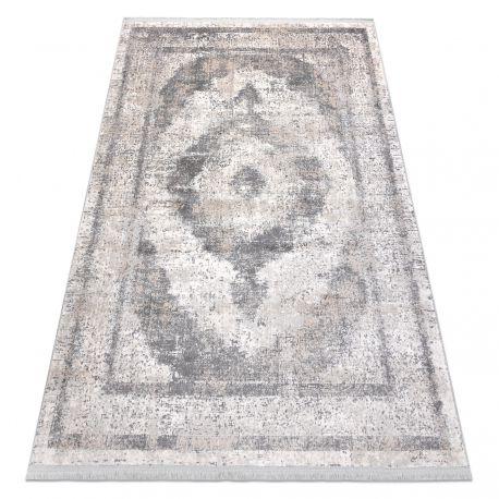 Tappeto classico REBEC frange51171A Ornamento vintage - due livelli di pile crema / grigio