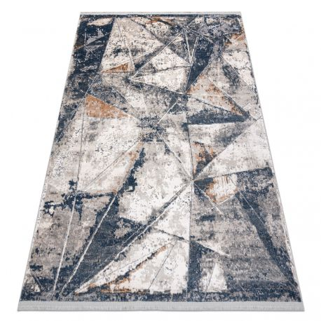Modern Teppich REBEC Franse 51176A Geometrisch, Dreiecke - zwei Ebenen aus Vlies creme / dunkelblau