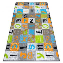 Carpet for kids JUMPY Patchwork, Letters, Numbers grey / orange / blue