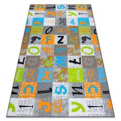 Ковролин для детей JUMPY Пэчворк, Буквы, Числа сірий / помаранчевий / синій