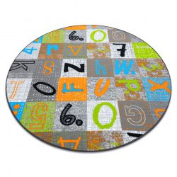 Dywan dla dzieci JUMPY koło Patchwork, Litery, Cyfry szary / pomarańczowy / niebieski