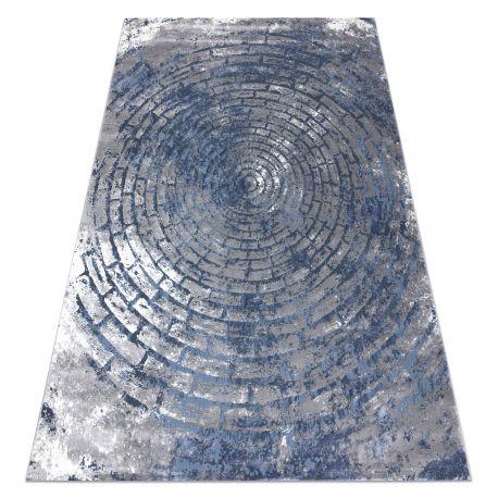 Dywan OPERA 0W9790 C92 54 Koła, Cegła, przecierany - Strukturalny, dwa poziomy runa szary / niebieski