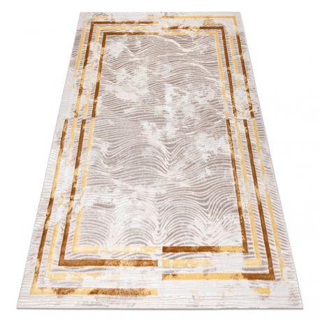 Teppich OPERA 0W9788 C91 45 Rahmen, Wellen - Structural zwei Ebenen aus Vlies elfenbein / kupferrot