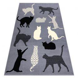 Tappeto BCF FLASH Cats 3996 - Gatti, gattini grigio