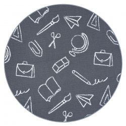 Carpet for kids SCHOOL circle children's grey