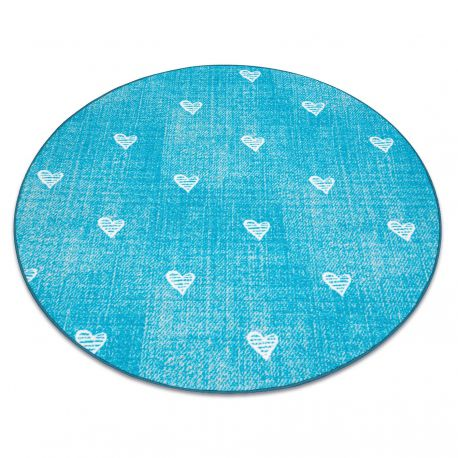 Carpet for kids HEARTS circle Jeans, vintage children's - turquoise