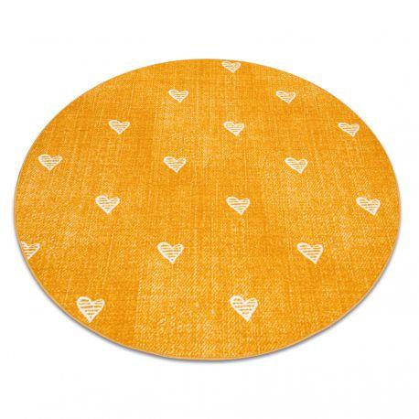 Килим для дітей HEARTS коло джинси, vintage серця - помаранчевий
