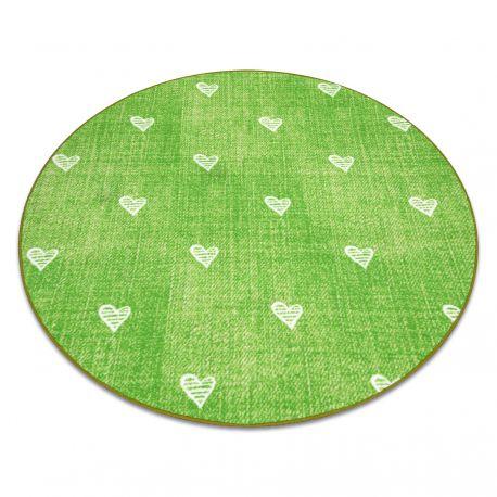 Ковер для детей HEARTS круг джинсы, vintage сердца - зеленый