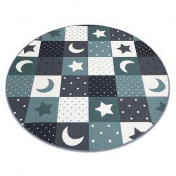 Килим для дітей STARS коло зірок бірюзовий / сірий