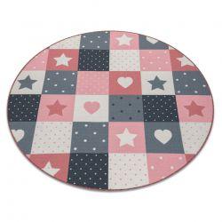 Dywan dla dzieci STARS koło - gwiazdy, gwiazdki, dziecięcy, różowy / szary