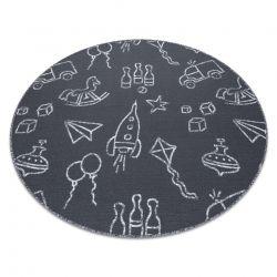 Dywan dla dzieci TOYS koło zabawki, do zabawy, dziecięcy - szary