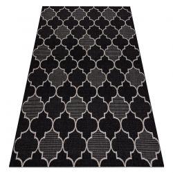 TAPIS EN CORDE SIZAL FLOORLUX 20607 Treillis marocain noir / argentin