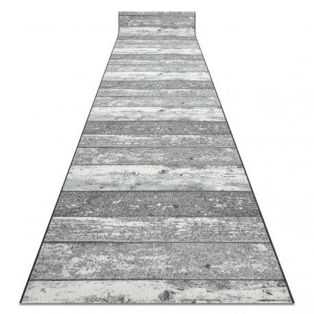 Runner anti-slip Wood planks grey