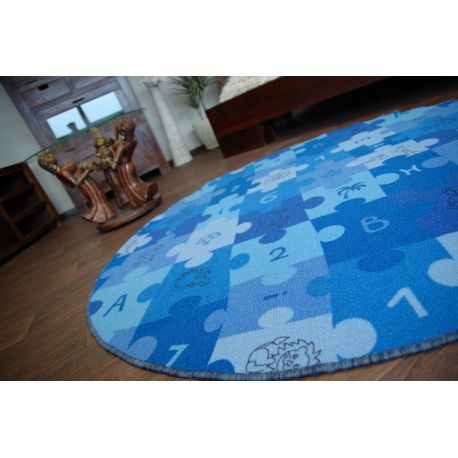 Carpet circle PUZZLE blue