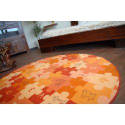 Covor copilăresc Puzzle portocaliu rotund